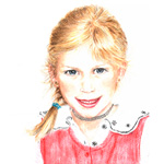 Antonia – Kinderportrait – Pastellreide/Buntstift–Illustration, 21 x 28 cm
