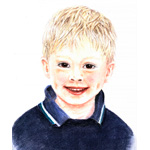 Niklas – Kinderportrait – Pastellreide/Buntstift–Illustration, 21 x 28 cm