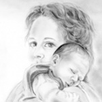 Mutter/Kind-Portrait Steffi und Dustin – Bleistift–Illustration, 30 x 30 cm